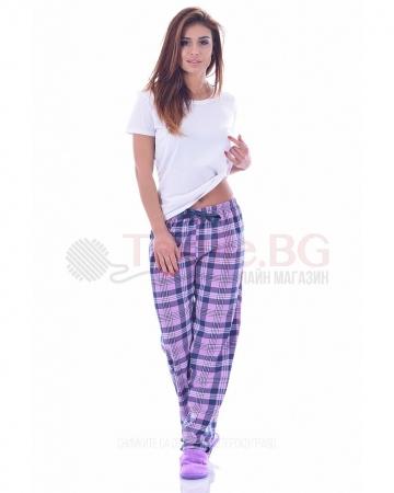 Памучен дамски панталон в четири цвята каре със сатенена панделка