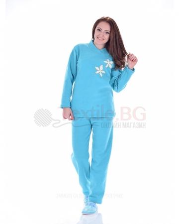 Плътна дамска пижама от хавлия с апликация цветчета