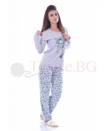 Памучна дамска пижама в три цветови комбинации с красиви панделки