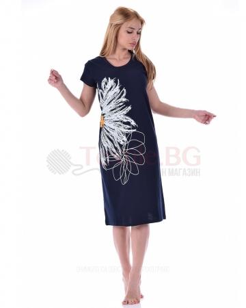 Дамска рокля къс ръкав с разкошна декорация маргарита