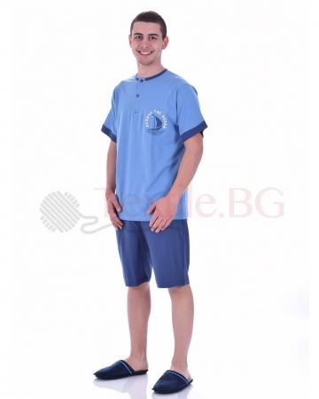Удобна мъжка пижама къс ръкав с копчета в три цветови варианта