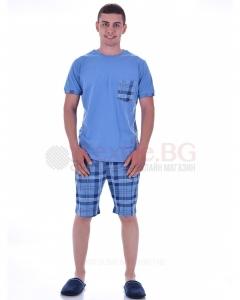 Мъжка пижама с къс ръкав в две комбинации с каре панталон и джоб