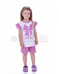 Детска пижама момиче къс ръкав с красива пеперудена панделка