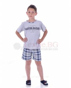 Юношеска пижама момче с къс ръкав в три комбинации с каре панталон