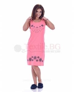 Дамска рокля без ръкав със ситопечат цветчета в три приятни цветове