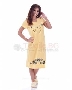 Дамска рокля къс ръкав със ситопечат цветчета в три топли цветове