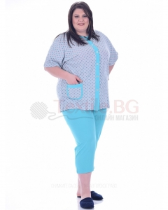 Памучна макси пижама къс ръкав в две комбинации с щампа на сърчица