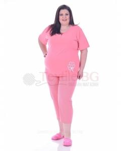 Памучна макси пижама къс ръкав с апликация цвете в три топли нюанса