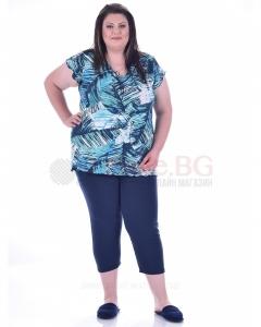 Комфортна макси пижама къс ръкав в два красиви принта