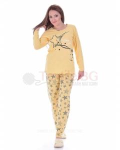 Памучна дамска пижама дълъг ръкав със звезди в три варианта