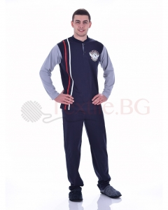 Комфортна мъжка пижама със щампа орел и две вертикални ленти