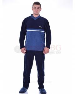 Плътна мъжка пижама от хавлия в двуцветна комбинация с остро деколте