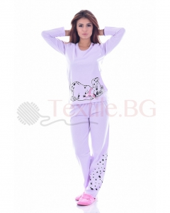 Памучна дамска пижама с далматинци в три различни цвята
