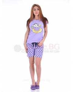 Дамска пижама къс ръкав и къс панталон с декорация котенце в четири комбинации