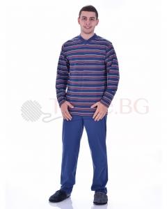 Мъжка памучна пижама райе с остро деколте в три цвята