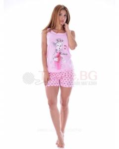Дамска пижама потник и къс панталон с декорация
