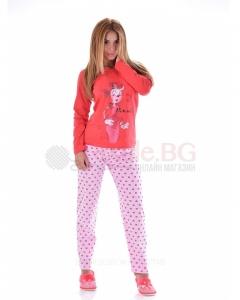 Дамска памучна пижама с декорация