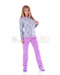Дамска пижама интерлог зайчета в две цветови комбинации
