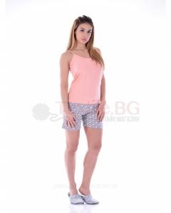 Дамска лятна пижама потник и къс панталон в щампа на точки