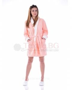 Mек и комфортен дамски къс халат от велсофт в три цвята