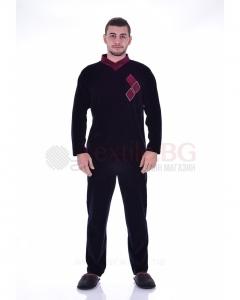 Мъжка пижама плюш с ромбоиди в две цветови комбинации