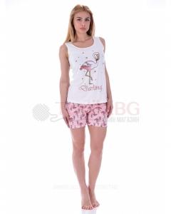 Лятна дамска пижама с потник и къси панталони