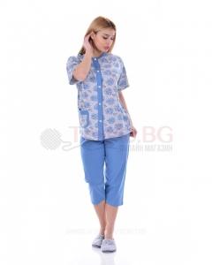 Дамска пижама къс ръкав в две комбинации с щампа на рози