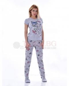 Дамска пижама къс ръкав и дълъг панталон с красиви пеперуди