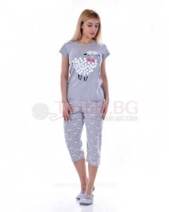 Дамска памучна пижама къс ръкав с декорация овца