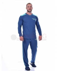 Kомфортна мъжка пижама щпиц деколте с декорация