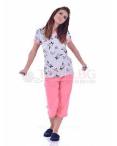 Памучна дамска пижама с къс ръкав зайчета в две цветови комбинации