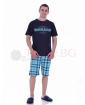 Mъжка пижама с къс ръкав в четири комбинации с каре панталон