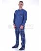 Мъжка памучна пижама с джоб и каре панталон в три цветови комбинации